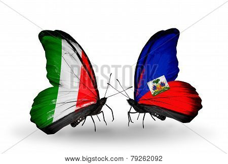 Two Butterflies With Flags On Wings As Symbol Of Relations Italy And Haiti