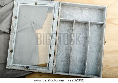 Kitchen Cloth And Free Box On Wood Background