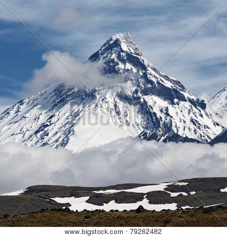 Mountain Landscape: Kamen Volcano On Kamchatka Peninsula