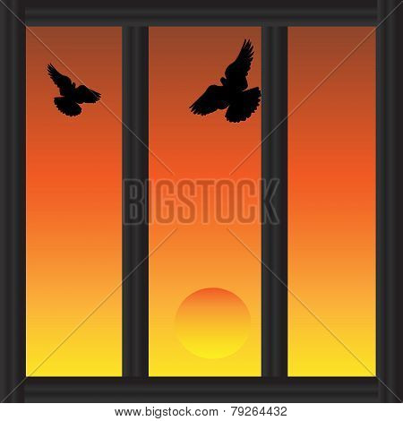 Watching A Sunset Through A Barred Window