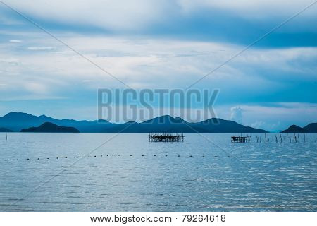 Seascape with Mountains in Blue