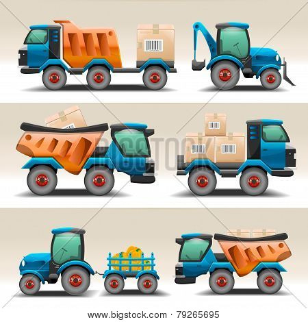 Set of trucks and tractors for transportation
