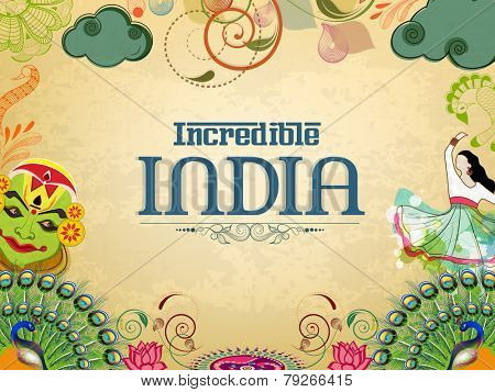 Incredible India, a glance of traditional Indian dances with National Bird Peacock and Flower Lotus on grungy background.