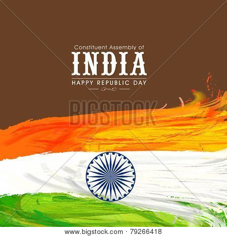 Happy Indian Republic Day celebration with national tricolor feathers and Ashoka Wheel on brown background.