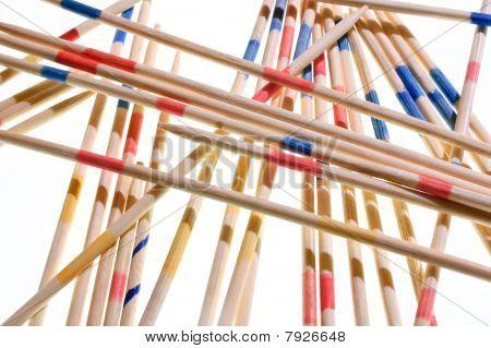 Mikado Sticks, Isolated On White