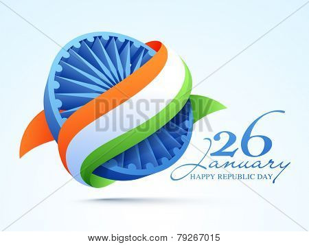 3D Ashoka Wheel covered by national tricolor ribbon for 26 January, Happy Indian Republic Day celebration.