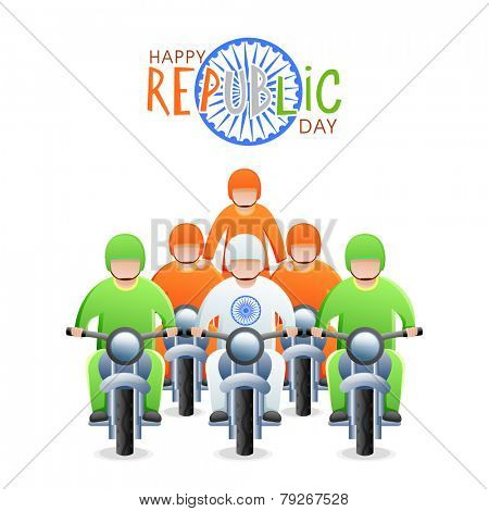 Young bikers in national flag color dress with Ashoka Wheel for Happy Indian Republic Day celebration.