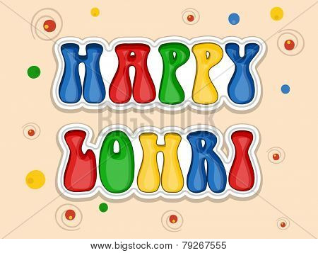 Greeting card design with colorful text Happy Lohri on decorated background.