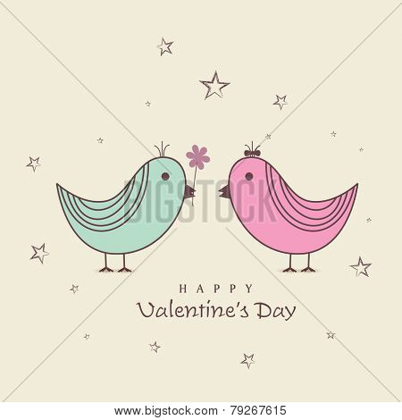 Cute male bird proposing his beloved with flower on occasion of Happy Valentine's Day.