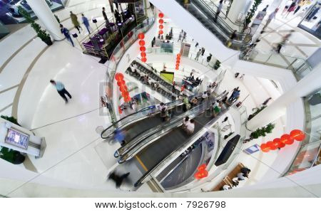 Shopping Hall. Crowd In Motion Blur