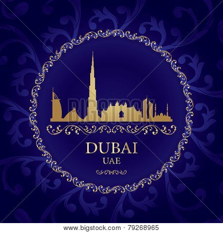 Dubai Skyline Silhouette On Vintage Background