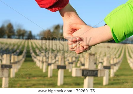 Children Walk Hand In Hand For Peace World War