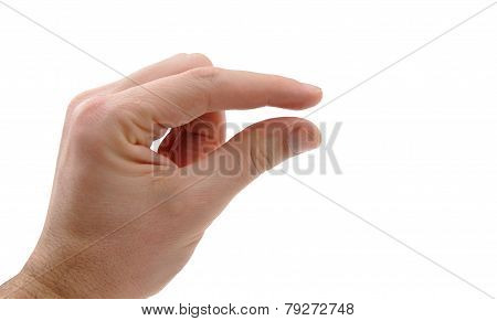 Hand With Two Fingers With Narrow Slit Between Two Fingers