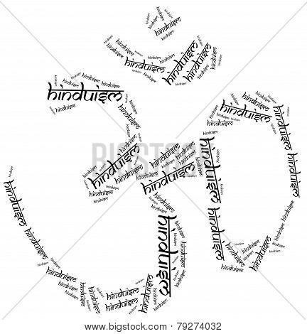 Symbol Of Hinduism Religion. Word Cloud Illustration.