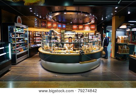 GENEVA - SEP 11: bakery interior on September 11, 2014 in Geneva, Switzerland. Geneva is the second most populous city in Switzerland and is the most populous city of Romandy