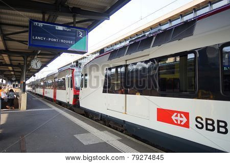 GENEVA - SEP 11: Geneva downtown on September 11, 2014 in Geneva, Switzerland. Geneva is the second most populous city in Switzerland and is the most populous city of Romandy