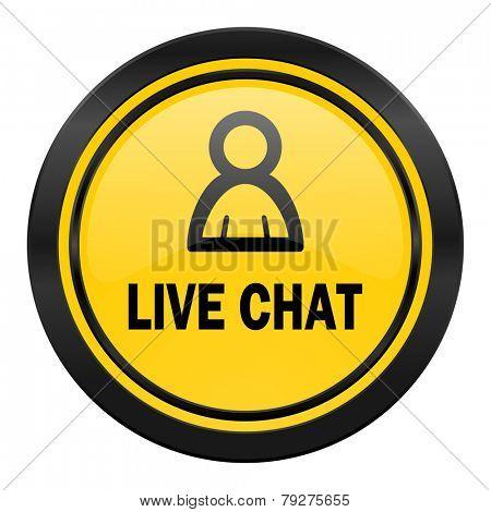 live chat icon, yellow logo,