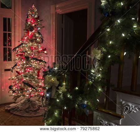 Christmas tree and lighted garland