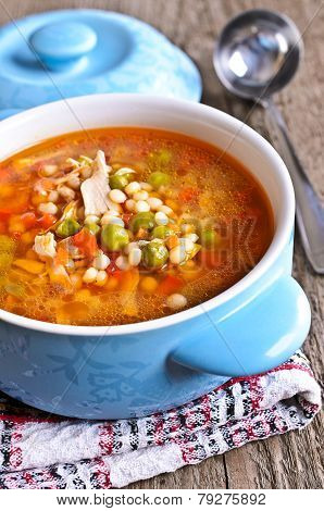 Soup With Small Pasta, Vegetables And Pieces Of Meat