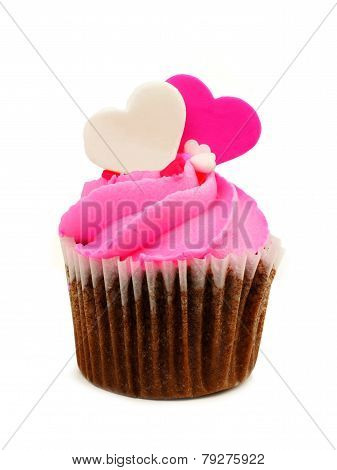 Valentines Day cupcake with heart toppers