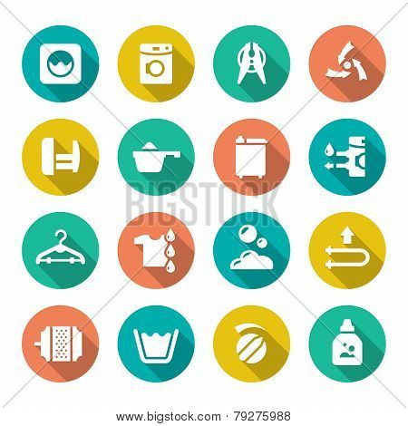 Set Flat Icons Of Laundry