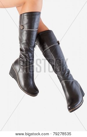 Leather boots with beautiful legs