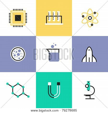 Science Research And Biology Pictogram Icons Set