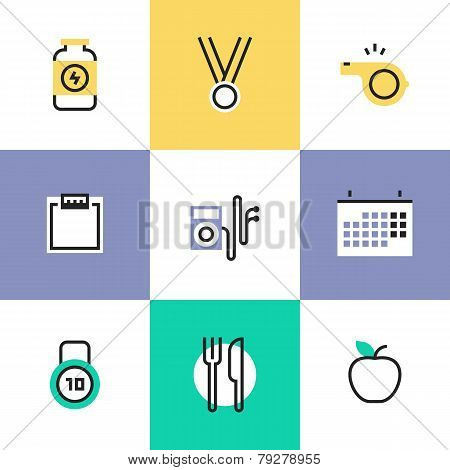 Fitness And Healthy Food Pictogram Icons Set