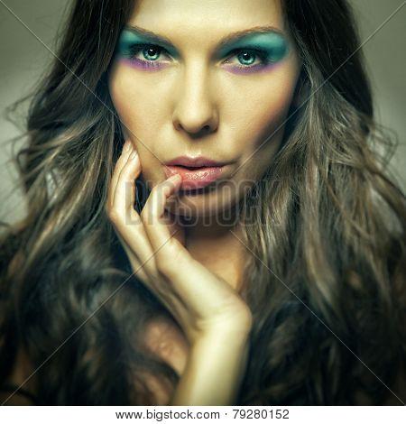 Closeup Colorfull Makeup Girl