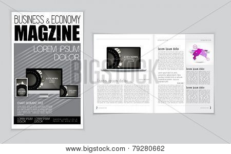 Computer, business and economy magazine layout. Vector
