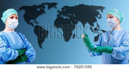 Medical Female Doctor World Map