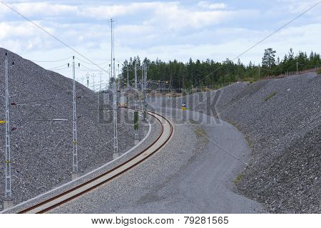 Close-up on a bend for a railroad.