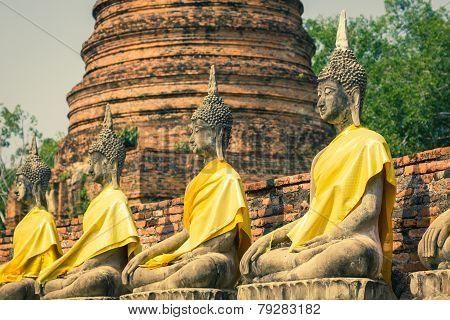 Aligned Buddha Statues At Wat Yai Chaimongkol Ayutthaya Bangkok Thailand