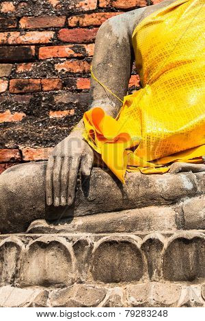 Hand Of Buddha At Wat Yai Chaimongkol Temple Ayutthaya Was The Old Capital Of Thailand