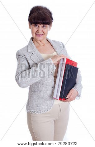Aged woman poising like an office worker, administrator, secretary. Portrait against of white backgr