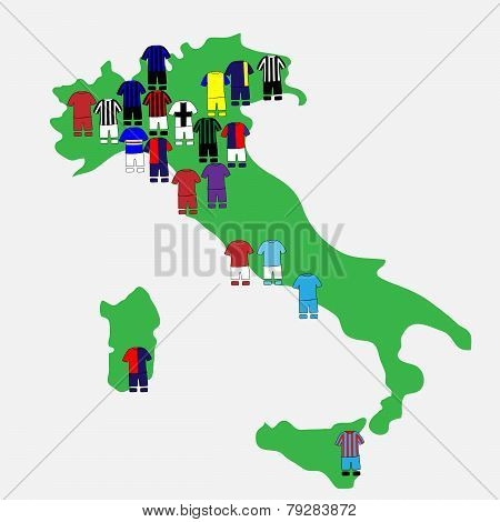 Italian League Clubs Map 2013-14