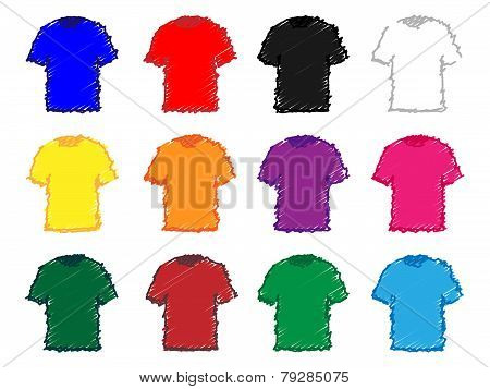 Tee Shirts In Different Colours Pencil Style 1