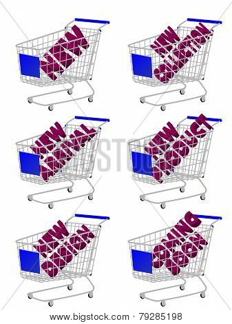 Blue 3D Shopping Cart With New Arrivals Texts