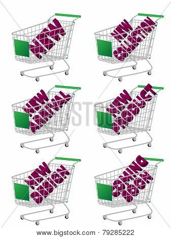 Green 3D Shopping Cart With New Arrivals Texts