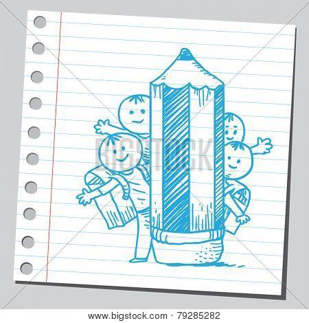 Schoolkids behind wooden pencil