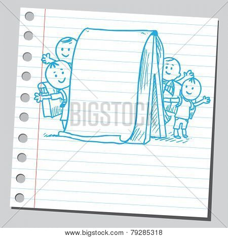 Schoolkids behind flip chart