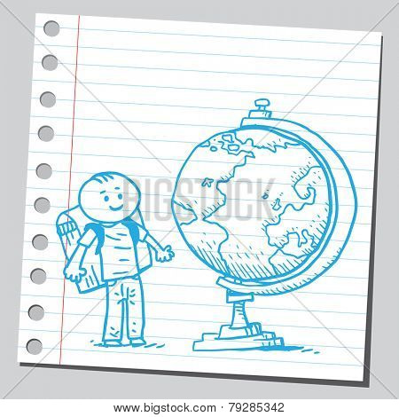 Happy schoolkid with desk globe