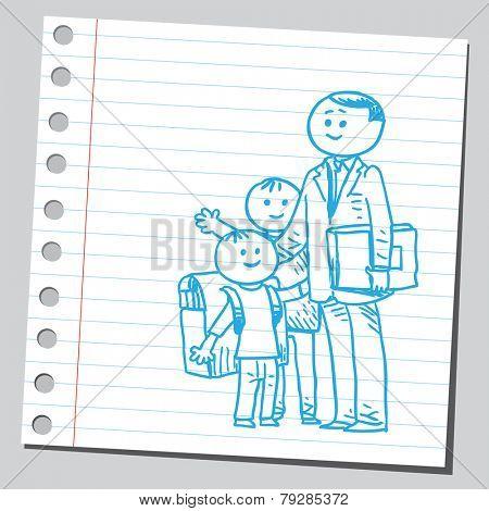 Happy schoolkids with teacher