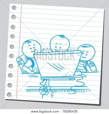 Happy schoolkids with computer