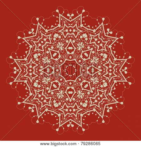 Vector mandala on red. Art vintage decorative elements. Hand drawn tribal style yantra or chakra sym