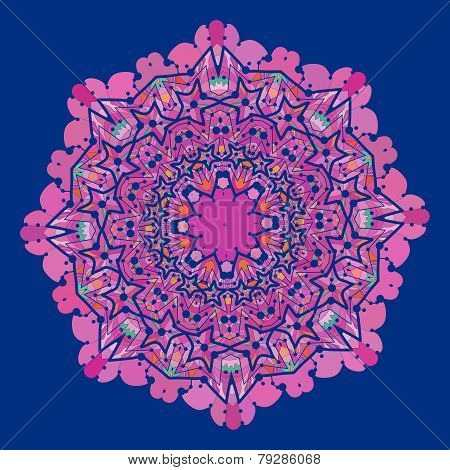 Ornamental colorful vector mandala of violet and pink color. Art vintage decorative elements. Hand d