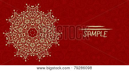 Wedding or invitation card design made of tribal style lace. Islamic, arabic, indian, ottoman, asian