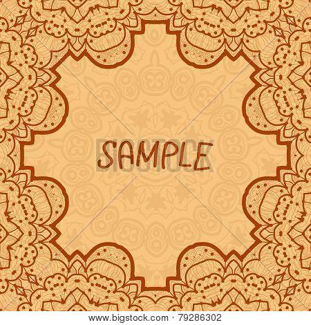Ornamental frame, delicate floral pattern. Vector square flyer card design Card or invitation. Vinta