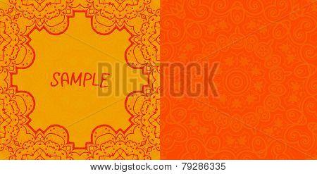 Invitation card design. Ornamental orange vector flyer. Art vintage decorative elements. Hand drawn