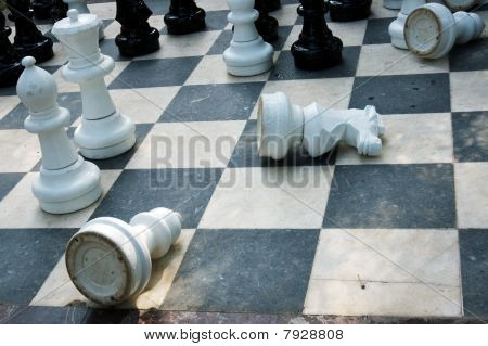 White chess-men lying on the board
